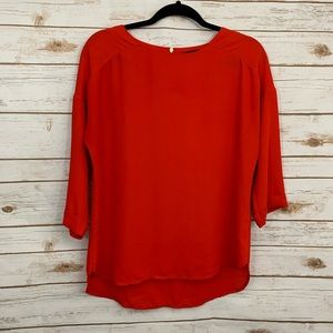 Anthropologie W5 Red Gold Zipper Career Blouse